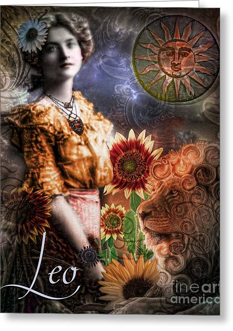 Art Nouveau Zodiac Leo Greeting Card by Mindy Sommers