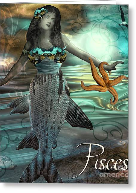 Art Nouveau Zodiac Pisces Greeting Card by Mindy Sommers