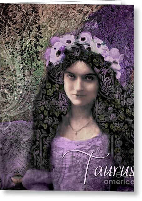 Art Nouveau Zodiac Taurus Greeting Card by Mindy Sommers