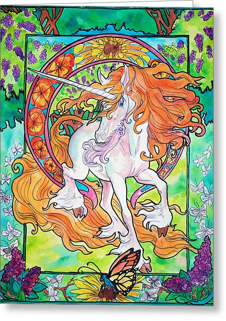 Jenn Cunningham Greeting Cards - Art nuevo unicorn Greeting Card by Jenn Cunningham