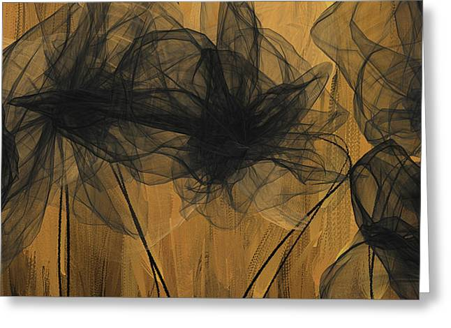 Art Of Elegance- Black And Gold Abstract- Muted Gold  Greeting Card