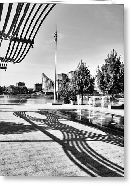 Art On The Ohio River Bw Greeting Card