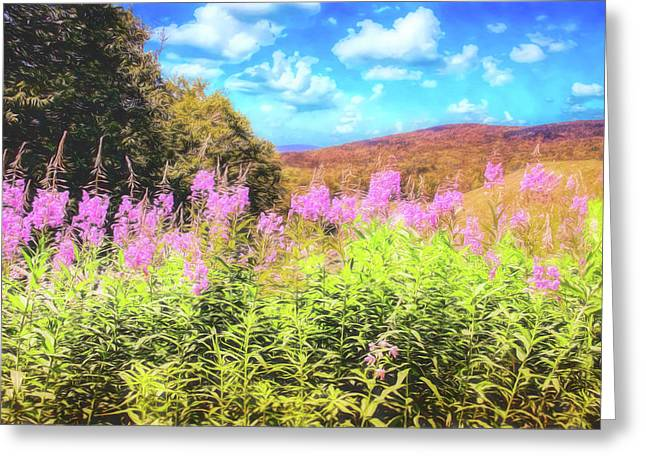 Art Photo Of Vermont Rolling Hills With Pink Flowers In The Foreground Greeting Card