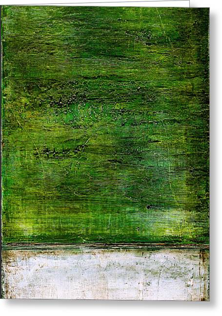 Art Print Green White Greeting Card