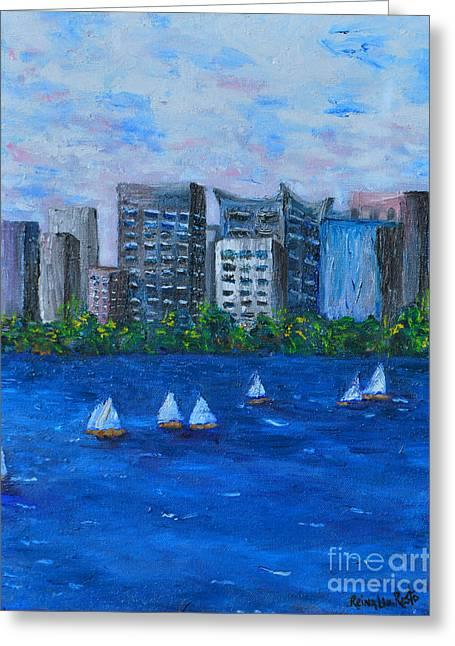 Art Study City Water Scape  Greeting Card by Reina Resto