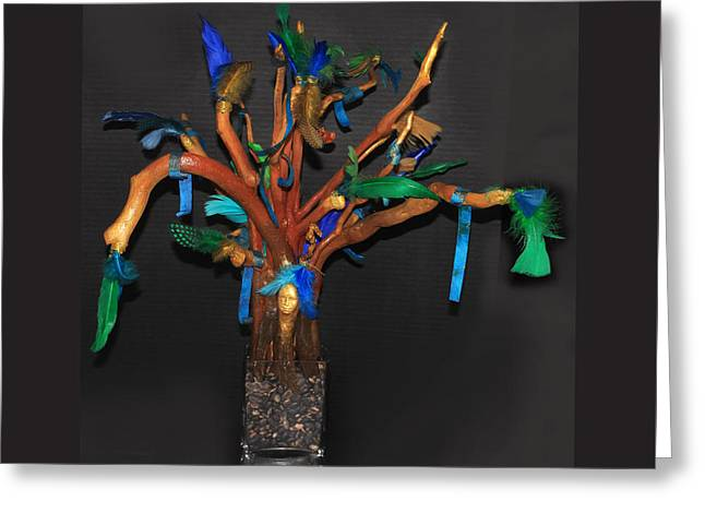 Art Therapy Directive  Prayer Tree Greeting Card by Anne Cameron Cutri