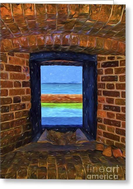 Dry Tortugas Armory Window Greeting Card