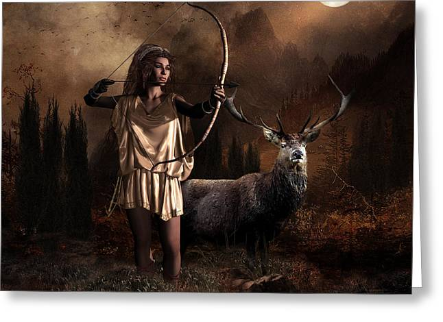 Greeting Card featuring the digital art Artemis Goddess Of The Hunt by Shanina Conway