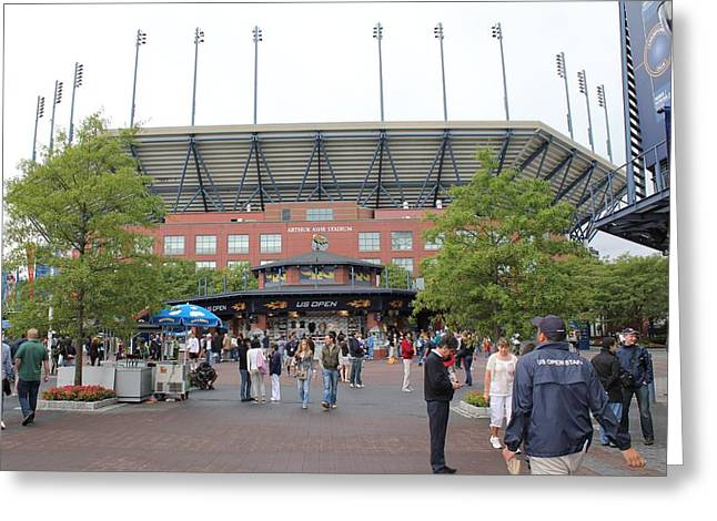 Arthur Ashe Stadium Greeting Card by David Grant