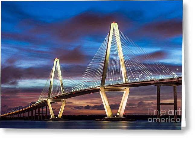 Arthur Ravenel Bridge At Night Greeting Card