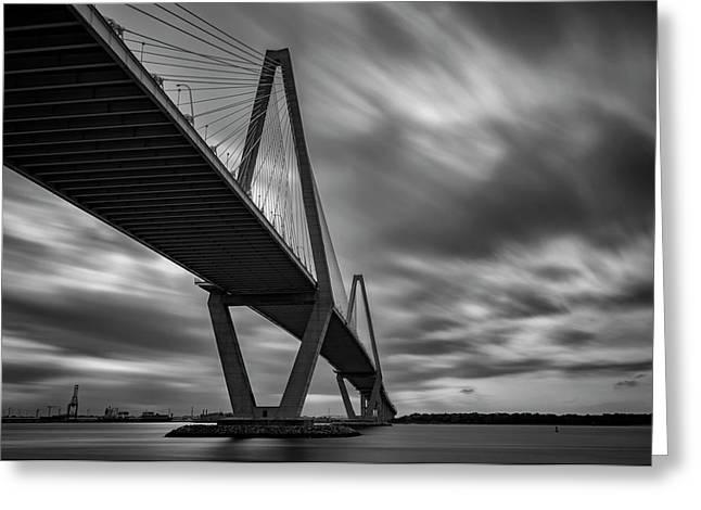 Arthur Ravenel Bridge Greeting Card by Rick Berk