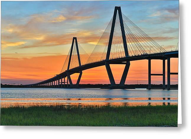 Arthur Ravenel Jr. Bridge At Dusk - Charleston Sc Greeting Card