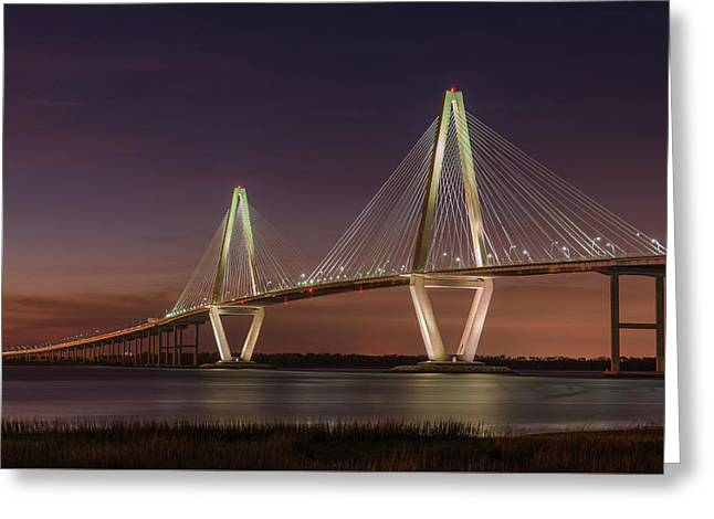 Arthur Ravenel, Jr. Bridge At Dusk Greeting Card