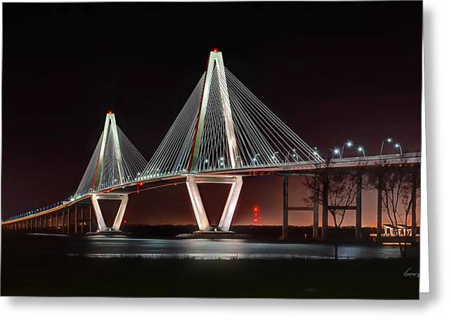 Greeting Card featuring the photograph Arthur Ravenel Jr. Bridge At Midnight by George Randy Bass