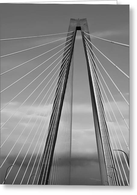 Arthur Ravenel Jr Bridge II Greeting Card by DigiArt Diaries by Vicky B Fuller