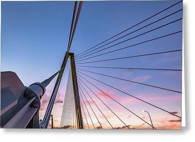 Arthur Ravenel Jr. Bridge Light Trails Greeting Card