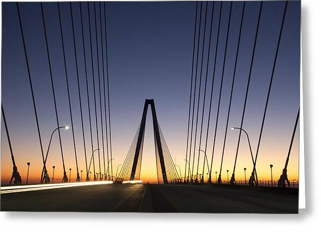 Arthur Ravenel Jr Bridge Sunrise Greeting Card by Dustin K Ryan