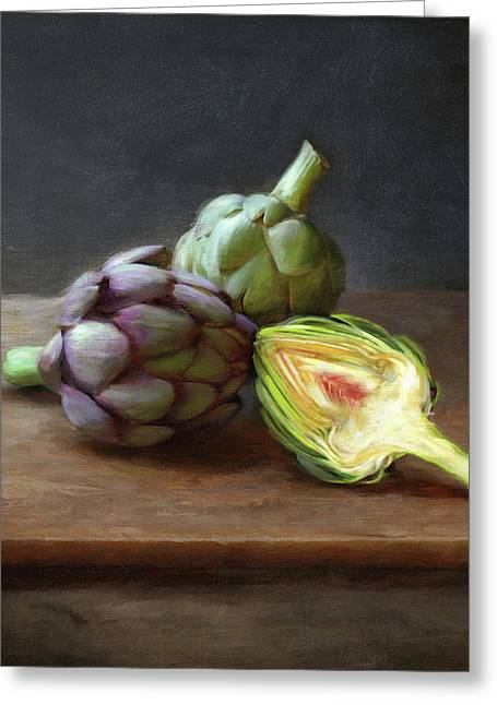 Artichokes Greeting Card by Robert Papp