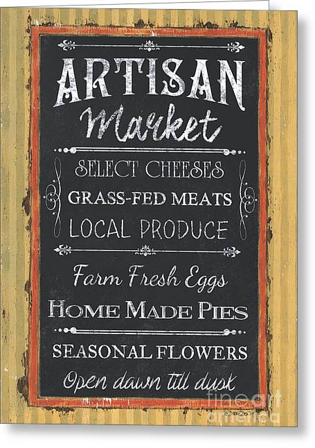Artisan Market Sign Greeting Card by Debbie DeWitt