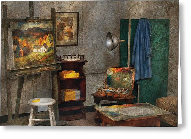 Artist - Painter - The Artists Studio Greeting Card by Mike Savad