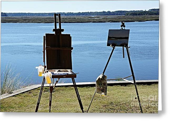 Artist Easels Overlooking Bluffton Waterway Greeting Card by Bob Bennett