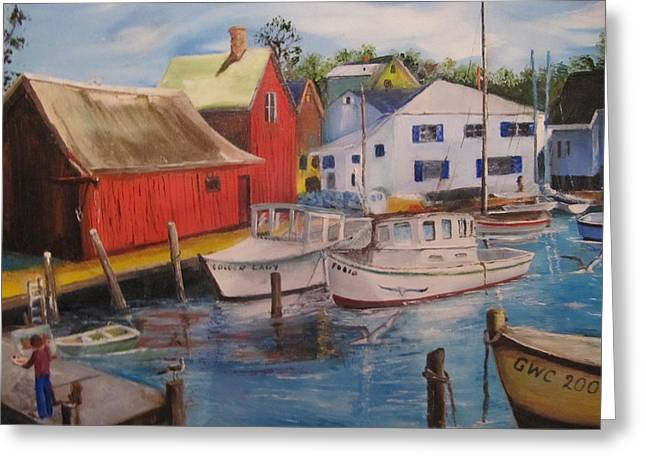 Artist In New England Dock Greeting Card by Gloria Condon
