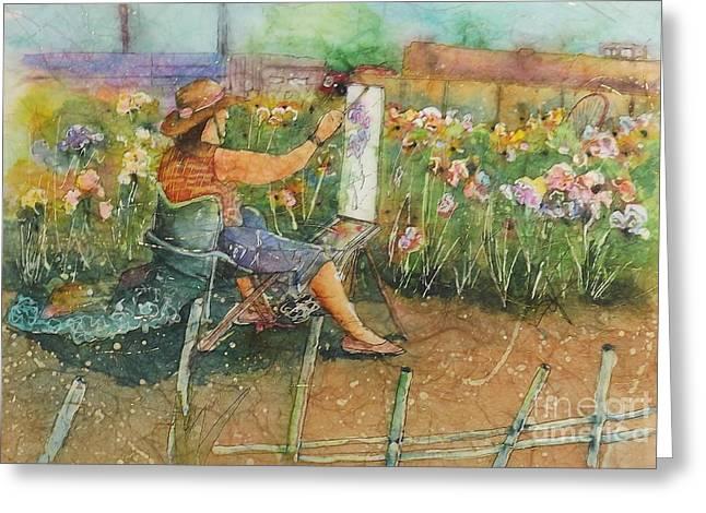 Artist In The Iris Garden Greeting Card