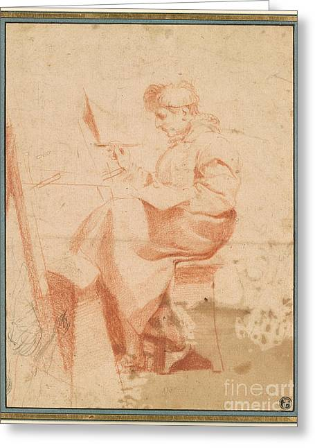 Artist Painting At An Easel Greeting Card by Celestial Images