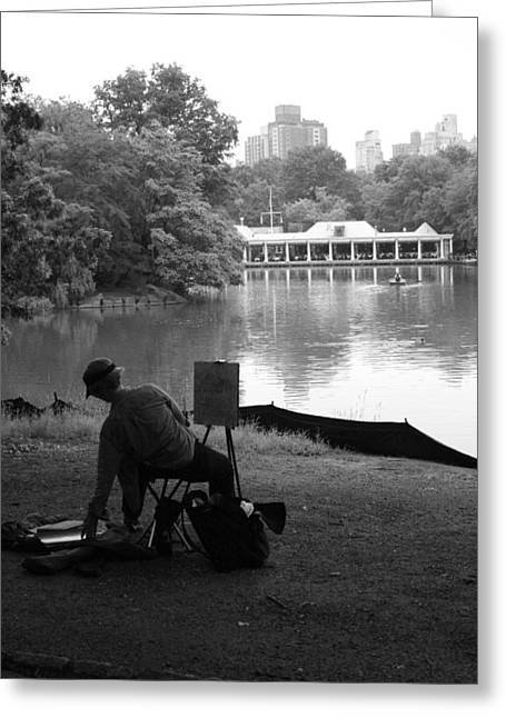 Artist Painting In Central Park Greeting Card by Christopher Kirby