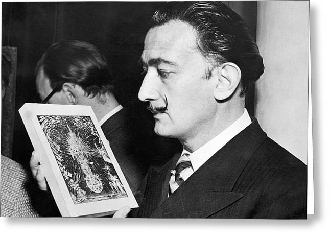 Artist Salvador Dali Greeting Card by Underwood Archives