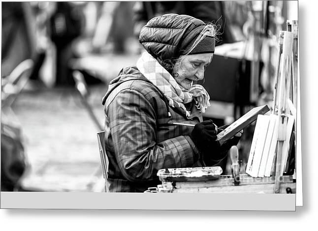 Artiste Paris Greeting Card by John Rizzuto
