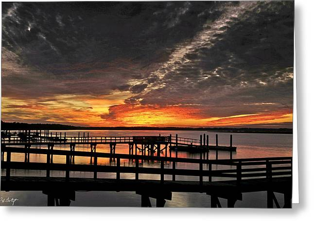 Artistic Black Sunset Greeting Card by Phill Doherty