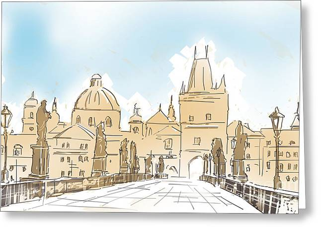 Artistic Digital Painting Of Charles Bridge Prague Greeting Card by Jorgo Photography - Wall Art Gallery