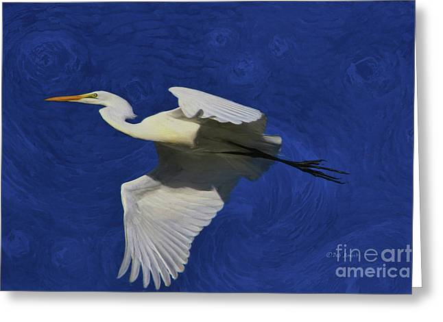 Greeting Card featuring the painting Artistic Egret by Deborah Benoit