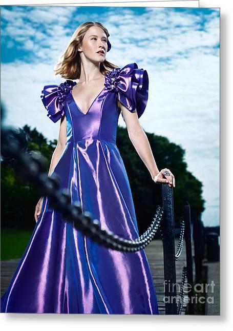 Artistic Fashion Portrait Of Woman In Beautiful Long Blue Dress  Greeting Card by Oleksiy Maksymenko