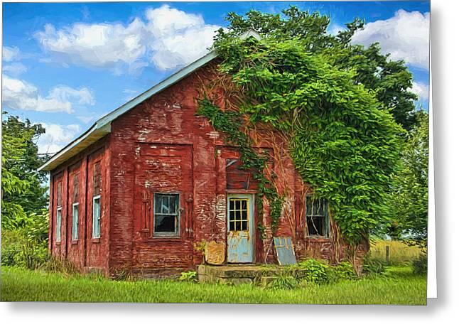 Artistic Old Abandoned Schoolhouse Greeting Card