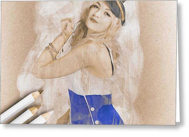Artistic Pencil Drawing Of A Sailor Pinup Woman Greeting Card by Jorgo Photography - Wall Art Gallery