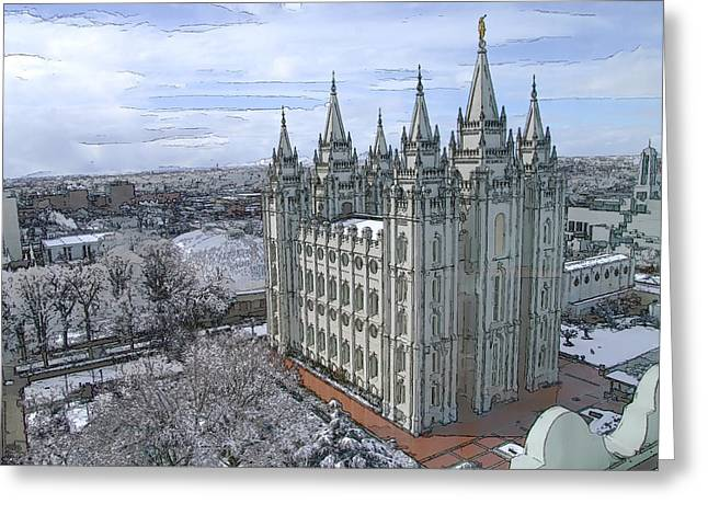 Artistic Rendering Of The Salt Lake City Lds Temple Greeting Card by Richard Coletti