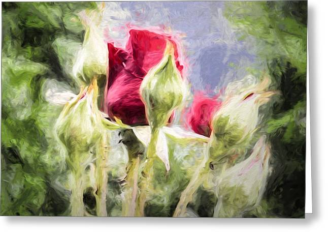 Artistic Rose And Buds Greeting Card