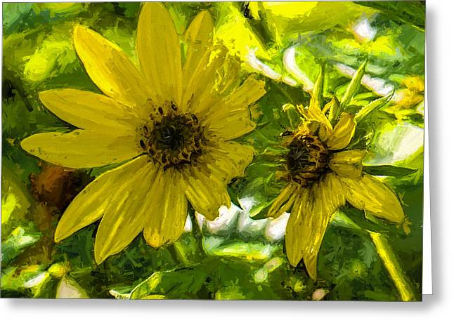 Artistic Yellow And Green Tones Greeting Card by Leif Sohlman
