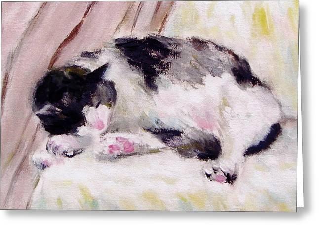 Artist's Cat Sleeping Greeting Card