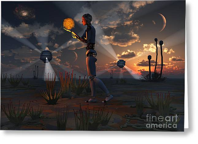 Best Sellers -  - Power Plants Greeting Cards - Artists Concept Of A Quest To Find New Greeting Card by Mark Stevenson