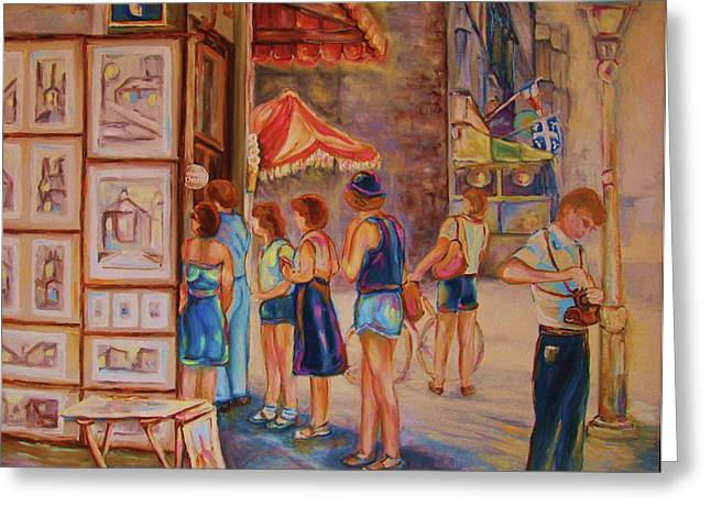 Artists Corner Rue St Jacques Greeting Card by Carole Spandau
