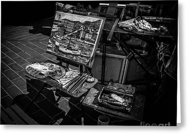 Artist's Easel At Street Market In Nice, France Greeting Card