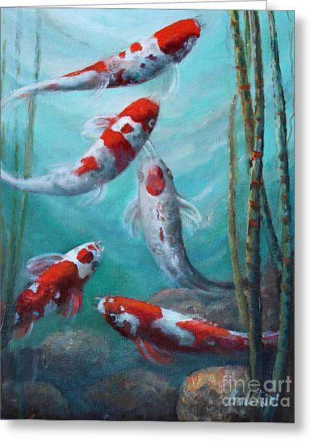 Artist's Pond Fish Greeting Card by Gail Salitui