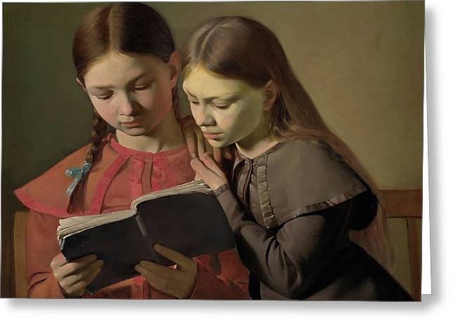 Artists' Sisters Signe And Henriette Reading A Book Greeting Card by Constantin Hansen