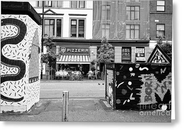 artwork in stephenson square Northern quarter Manchester uk Greeting Card by Joe Fox