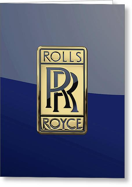 Rolls Royce - 3d Badge On Blue Greeting Card