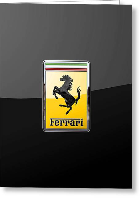 Ferrari - 3 D Badge On Black Greeting Card