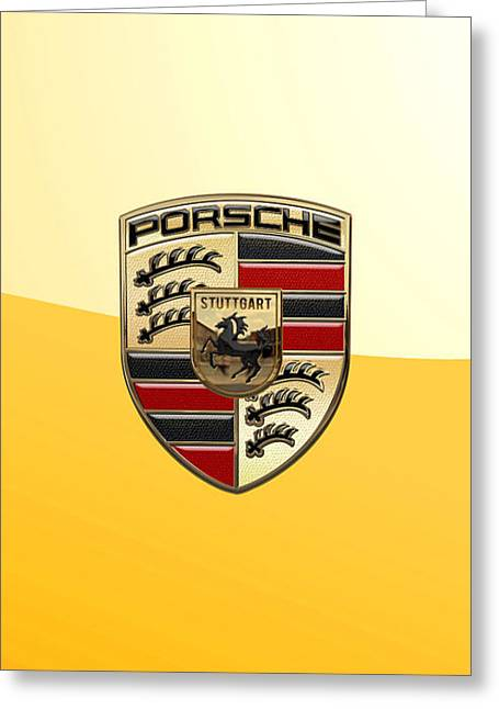 Porsche - 3d Badge On Yellow Greeting Card